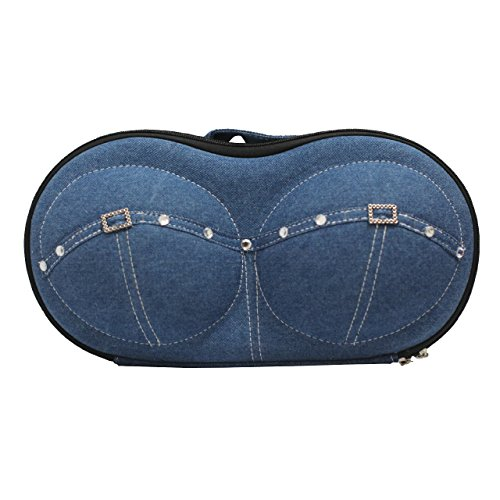 SODIAL (R) Custodia da viaggio portatile protezione per intima reggiseno biancheria Organizzatore-Jeans blu