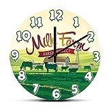 MJWLKJ Reloj de Pared de acrílicoProducto Fresco Granja de Leche Diseño Moderno Reloj de Pared Rebaño de Vacas Paisaje Rural Estilo de Vida Rural Reloj de Cocina Decoración de Granja - 30cm.12''