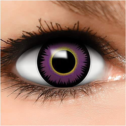 Farbige Kontaktlinsen Maniac in lila gelb + Behälter - Top Linsenfinder Markenqualität, 1Paar (2 Stück)