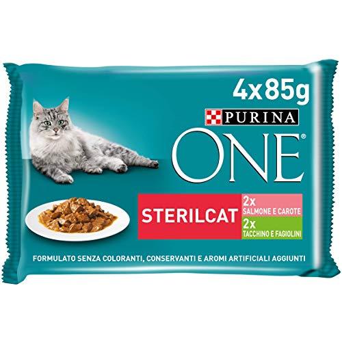 Purina One Sterilcat Gatto Filettini in Salsa con Salmone e Carote, con Tacchino e Fagiolini , 48 Buste da 85 g Ciascuna, 12 Confezioni da 4 x 85 g