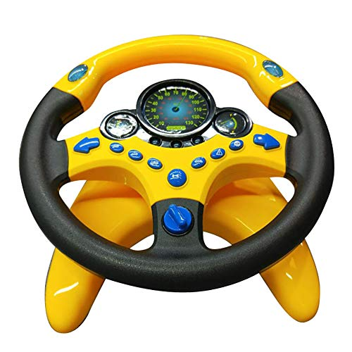 ghhshjhlk Juego De Simulación Volante Eléctrico Volante De Conducción Sonido Luz Educación Juguete para Niños Juguetes Interactivos para Padres E Hijos