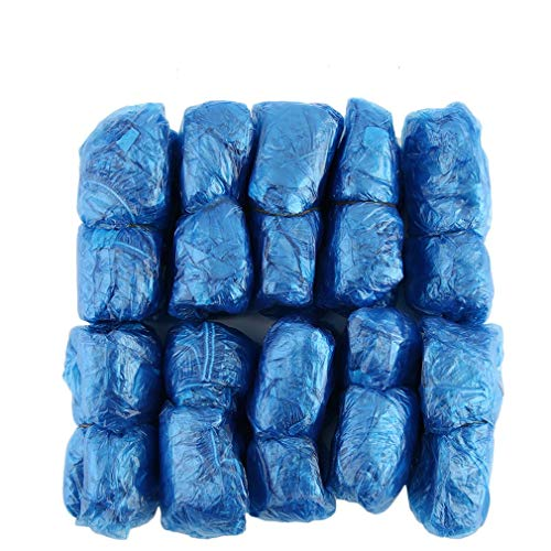 ForceSthrength 100 Pezzi/Set Copriscarpe in plastica USA e Getta per Ambienti Esterni Pioggia Impermeabile,Copriscarpe blu monouso puliti per l'home office.