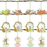 12 Pezzi Ornamenti Pendenti in Legno di Pasqua Pendente Sospeso Ritagli di Legno dell'Uccello Coniglietto Uovo Segno d'Attaccatura per Decorazione di Albero Parete Porta di Casa