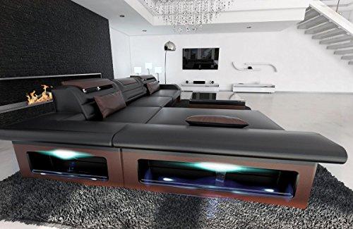 Sofa Dreams leren bank Monza L vorm zwart-bruin