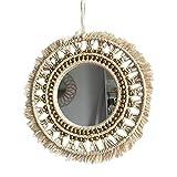 Espejo de macramé colgante de pared Boho geométrico decorativo redondo espejo de pared decoración para sala de estar...