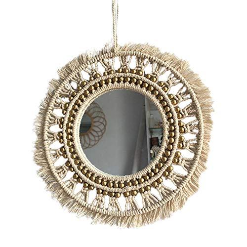 Kitabetty Espejo redondo de macramé para colgar en la pared, espejo decorativo geométrico Boho Espejo montado en la pared, magnífico diseño minimalista, adecuado para sala de estar, dormitorio, baño