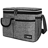 OPUX Insulated Lunch Box for Men Women, Leakproof Thermal Lunch Bag Cooler Work Office School, Soft Reusable Lunch Tote with Shoulder Strap, Adult Kid Lunch Pail Kit, 14 Cans, Gray