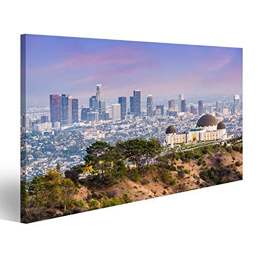 islandburner, Bild auf Leinwand Los Angeles, Kalifornien, USA, Skyline in der Innenstadt von Griffith Park. Wandbild Leinwandbild Kunstdruck Poster 80x40cm