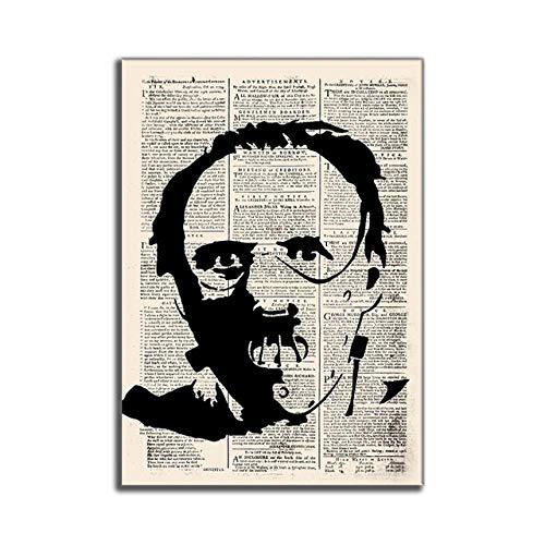 WJWGP Hitler Vintage Antiguo PerióDicos Abstracto Pintura Horror PelíCula CaráCter Lienzo Arte Impresiones Vintage Inicio Decorativo Pared Cuadros 40x60cm No Marco
