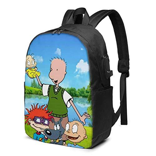 IUBBKI Bolsa para computadora mochila USB Men Women Packable Backpack with USB Charging Port, anti dust rain cover SchoolBag, Book Bags Daypack for Outdoor Shopping Travel, Cute Anime Rugrats-in-Paris