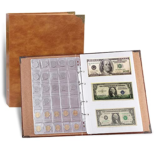 Leather 150 Pockets Coin Album Coin Collection Holder, 240 Pockets Paper Money Currency Collection Holder, Large Storage Book for Collectors, Bill Commemorative(Brown)