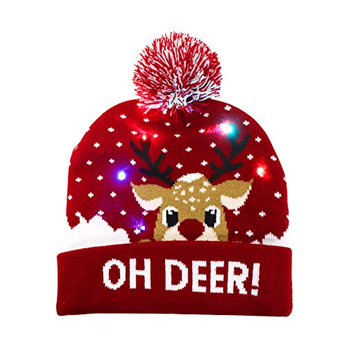 OurWarm LED Christmas Hat, Light Up Christmas Hat Unisex Red Knitted Beanie Holiday Hat with Deer Printing for Party