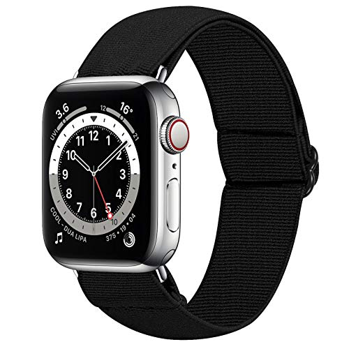 HAYUL Stretchy Nylon Bands Compatible with Apple Watch Bands 38mm 40mm 42mm 44mm, Adjustable Sport Elastics Women Men Wristband for iWatch Series 6/5/4/3/2/1 SE (Black, 42/44mm)