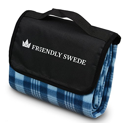 The Friendly Swede faltbare Outdoor-Picknick-Decke, Picknickdecke, wasserdichte Unterseite, Dark Blue + Light Blue Extra Large