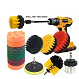 JOQINEER 22 Piece Drill Brush Attachment Set, Power Scrubber Drill Brush Kit,Scrubing Pads