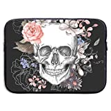 TnsiOawnmq Floral Skull 13-15 Inch Laptop Sleeve Bag - Briefcase Sleeve Bags Cover for MacBook Pro/Notebook,Water Resistant, Black