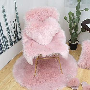 Softness Pink Faux Fur Rug 2 x 3 ft Sheepskin Area Rug Bedroom Shag Carpet Bathroom Rug