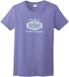 80th Birthday Gift Made 1939 Paisley Crest Ladies T-Shirt