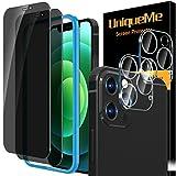 [2 Pezzi] UniqueMe Pellicola compatibile con iPhone 12 Pro Max 6.7 Pollici, [2 Pezzi] Privacy Vetro Temperato Pellicola e [2 Pezzi] Pellicola Fotocamera compatibile con iPhone 12 Pro Max