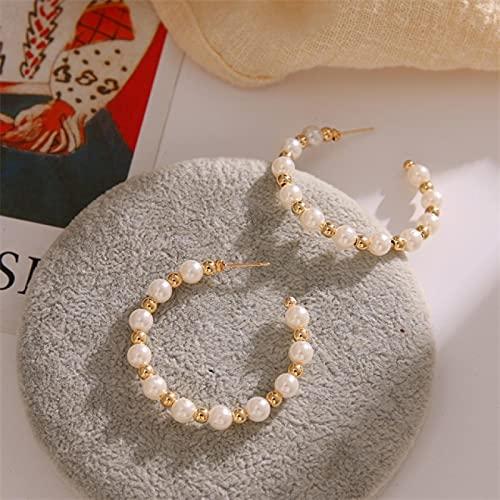 FEARRIN Pendientes de aro de Perlas de simulación de Tendencia de Moda para Mujer, Pendientes de declaración de círculo Grande de Color Dorado Simple, joyería de Fiesta LNI1314