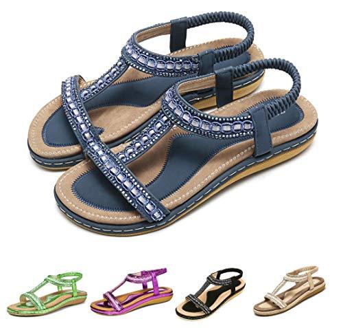 Camfosy Sandales Femmes Plates Été, Chaussures Été Nu Pieds à Talons Plats Claquettes Plage Semelle Compensées Confortables Bout Ouvert, Marine, 39 EU