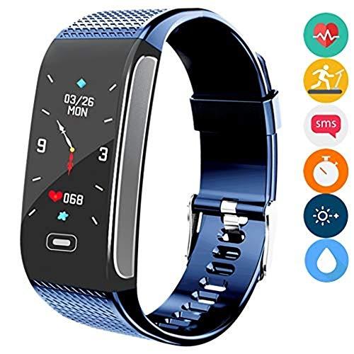 Fitness Tracker, Aktivitäts-Tracking Smart Armband mit Herzfrequenz-Schlafmonitor Schrittzähler Stoppuhr Schritte Kalorienzähler Wasserdicht Anruf SMS SNS Erinnern (Blau)