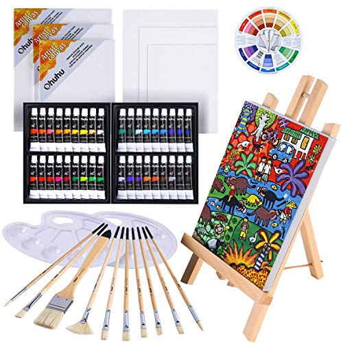 Oil Painting Set, Ohuhu 56pcs Artist Painting Set with Table Top Easel, Bristle Art Painting Brushes, 12MLX36 Oil Paints Tubes, Canvas, Art Supplies for Beginning Artist Students Kids Children Class