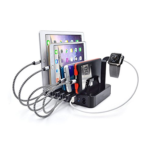 ZWFS USB-laadstation, meerdere intelligente mobiele multiport-power-management-ICS met afneembare scheidingswand voor Apple Leads/iPad/Tablet/iPhone en andere kleine USB-tools (zwart)