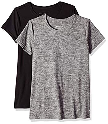 Amazon Essentials Women's 2-Pack Tech Stretch Short-Sleeve Crewneck T-Shirt, -black space dye/black, Medium
