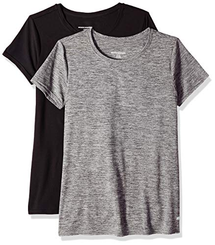 Amazon Essentials 2-Pack Tech Stretch Short-Sleeve Crew T-Shirt Athletic-Shirts, Space Dye Negro, Large