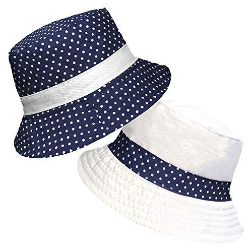 TOSKATOK® UPF 50+ Gepunkteter Sonnenhut aus Baumwolle für Damen, beidseitig tragbar, Fischerhutdesign reversibel-Navy