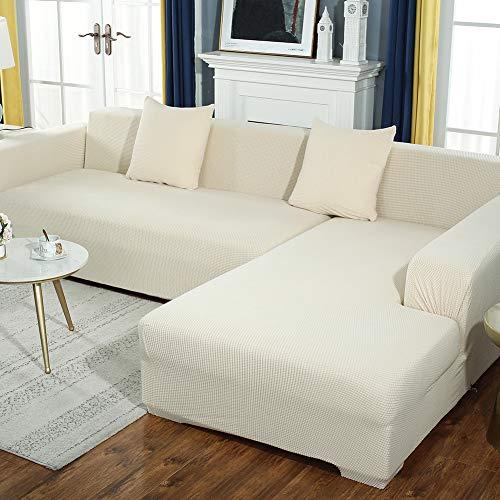 DANODA Sofabezug Verdicken Plüsch l Form Ecksofa Sofa Spannbezug Stretch Sofabezug Set für 1-5 Sitzer Sofa(Wenn Ihr Sofa für L-Form Ecksofa ist, müssen Sie Zwei kaufen),Weiß,2Sitzer:145~185cm
