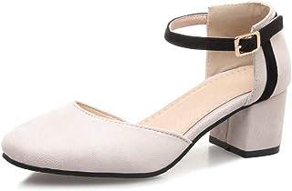 BalaMasa Womens ASL06345 Pu Block Heels