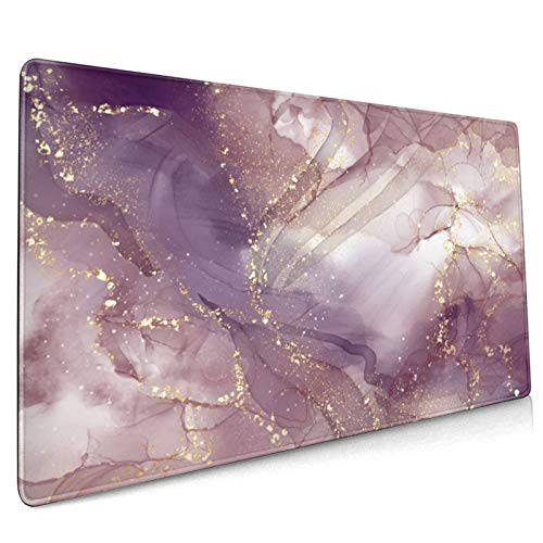 Pink Marble Extended Gaming Mouse Pad Non-Slip Rubber Base Purple Large Mousepad 35.4×15.7in with Stitched Edge Waterproof Thick Keyboard Pads Gold Computer Desk Laptop Mats for Work & Game & Office