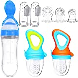 Baby Food Feeder Fresh Food Fruit Feeder Pacifier 3 Different Sized Silicone Teething Pacifiers 1 Pack Baby Food Dispensing Spoon 2 Pack Baby Finger Toothbrush Baby Feeders Silicone (Blue)