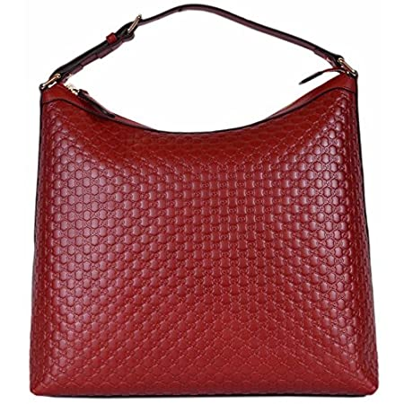 Fashion Shopping Gucci Women's Micro GG Guccissima Leather Purse Hobo Handbag (449732/Red)