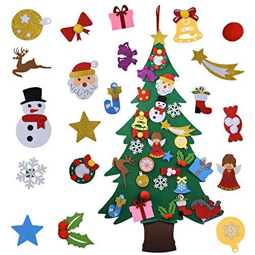 Onepine Albero di Natale in Feltro con Ornamenti Natalizi in Feltro Glitter Rimovibili da 28 Pezzi per Finestre, Regali di Sorpresa di Natale per Bambini, Decorazioni Natalizie (Stile 2)