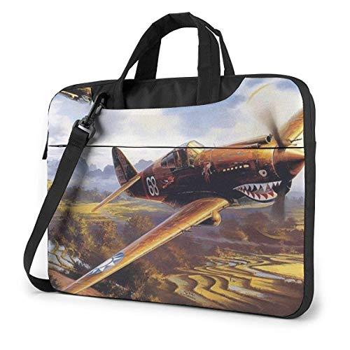 Laptop Bag Fighter Jet Shark Painting Laptop Shoulder Messenger Bag, Notebook Sleeve Carrying Case with Trolley Belt Fits Laptops/Notebook/ebooks/Kids tablet/ipad 15.6 inch