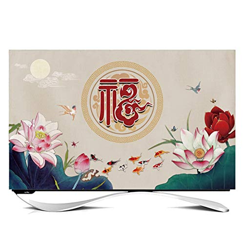 catch-L Interior Cubierta De Polvo Chino Cubierta De TV LCD Dobladillo Cubierta De La Pantalla (Color : Lotus, Size : 49 Inches)