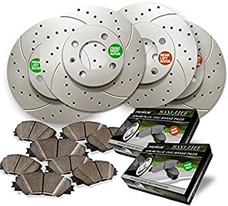 Front and Rear Premium Geomet rust protected Drilled and Slotted Brake Rotors and severe Duty Metallic Pads MAXG21166MDS | Fits: Escalade Avalanche 1500 Silverado 2WD 4WD SS Suburban Tahoe Sierra C3 D