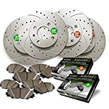 Front and Rear Premium Anti Rust Geomet Coated Drilled and Slotted Brake Rotors and severe Duty Metallic Pads MAXG21166MDS