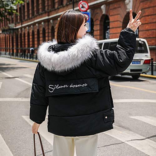 WFSDKN dames parka winterjas dames bontkraag 2019 winterjas dames losse korte donsjas letterpatroon donsjas dikker warme parka