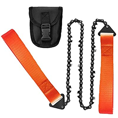 Loggers Art GensPocket Chainsaw 24InchLong PremiumRope Sawwith Sharp Teeth BladesCutting Easily Compact Folding Hand Chainsaw forWood-Cutting, Camping, Hunting?Garden Work and Field Survival