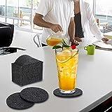 Mitavo Filzuntersetzer Rund - 10er Premium Set mit Box, Glasuntersetzer in Grau für Glas, Getränke, Gläser, Tassen - 5
