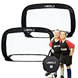 limerlo Portable Pop Up Soccer Goals - Kids Soccer Net - Foldable Soccer Nets - Training Soccer Goal - Set of 2-4ft