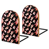 Pink Sphinx Cat Book Ends for Shelves Wooden Bookends Holder for Heavy Books Divider Modern Decorative 1 Pair