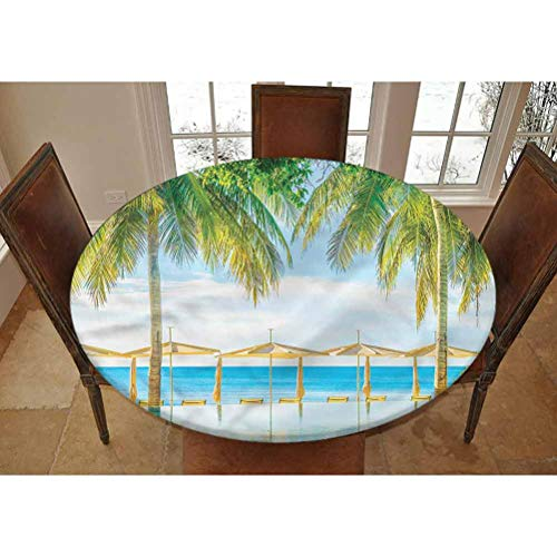 LCGGDB Landscape Elastic Edged Polyester Fitted Tablecolth -Pool Resort Summer- XL Large Round Fitted Table Cover - Fits Tables up to 63' Diameter,The Ultimate Protection for Your Table