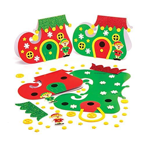 Baker Ross AT323 laarzen kaartenknutselsets kerstzelf (6 stuks) knutselen voor kinderen, gesorteerd