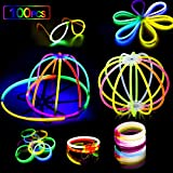 AMZJUPWMBraccialettiLuminosiFluorescenti490pcs,GlowStick106ConnettoriBaglioreColoratobastoniBulkPallediFiori,BicchieriLuminosieTripleBracciali (100PCS)