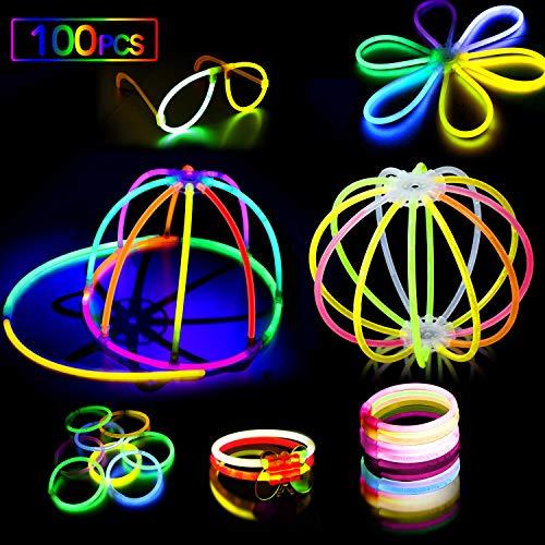 AMZJUPWM Barras Luminosas, 490pzas (20 cm) múltiples Colores: Amarillo, Rojo, Blanco, Ideal para Eventos: Fiestas Infantiles, cumpleaños. (100PCS)